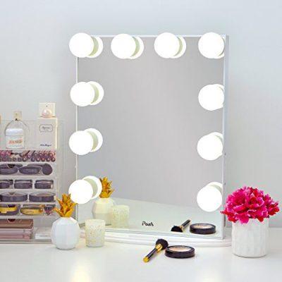 Posh Hollywood Vanity Mirror, Ultra Slim Frame Lighted Makeup Beauty Tabletop