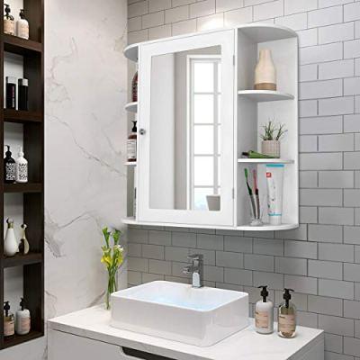 Tangkula Bathroom Cabinet, Single Door Wall Mounted Medicine Cabinet