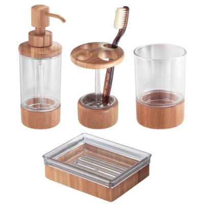 iDesign Bamboo Countertop Bath Accessory Set, Soap Dispenser Pump
