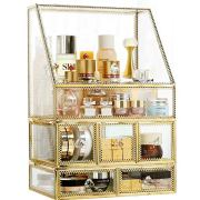 Gold Makeup Organizer,Cosmetic Storage Display Case with 5 Drawers
