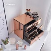 Beautify Large Mirrored Glass Rose Gold Cosmetic Makeup Jewelry Organizer