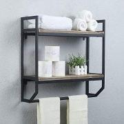 "2-Tier Metal Industrial 23.6"" Bathroom Shelves Wall Mounted"