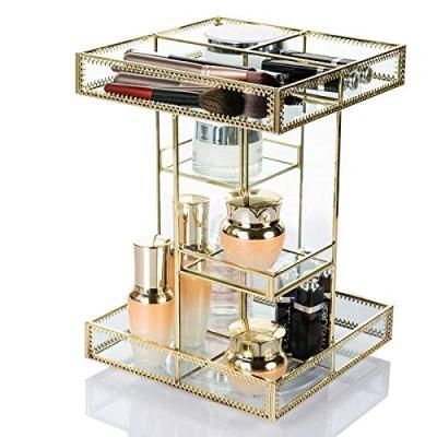AJO Antique Makeup Organizer,360 Degree Rotation Adjustable Jewelry Retro