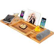 Royal Craft Wood Natural Bamboo Bathtub Caddy/Bath Serving Tray