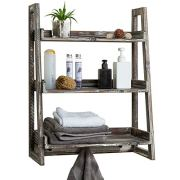 MyGift 3-Tier Torched Wood Wall-Mounted Cascading Ladder Shelves