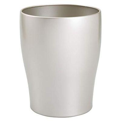 mDesign Modern Round Metal Small Trash Can Wastebasket