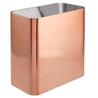 mDesign Rectangular Metal Small Trash Can Wastebasket, Garbage Container Bin