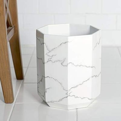 Allure Home Creation Marble Effect Trash Can - Small Wastebasket