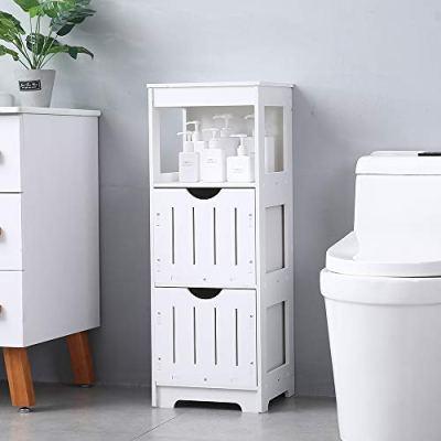 SSLine Slim Bathroom Cabinet Free Standing Corner Toilet Side Storage Shelf Organizer Narrow Bath Storage Cabinet Bathroom Tissue Holder Table with Drawers and Open Shelf