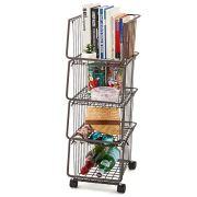 EZOWare 4-Tier Metal Utility Rack Shelves, Stackable Baskets Organizer