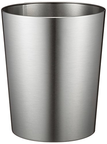 iDesign Patton Round Metal Trash Can, Waste Basket Garbage Can for Bathroom
