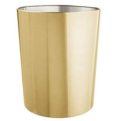 mDesign Round Metal Small Trash Can Wastebasket, Garbage Container Bin