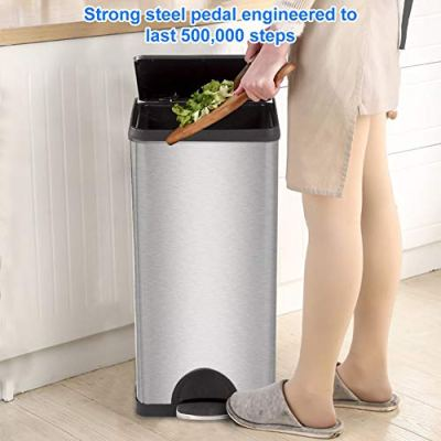 10 Gallon Trash Can with Lid for Office Kitchen Stainless Steel Metal Trash Can