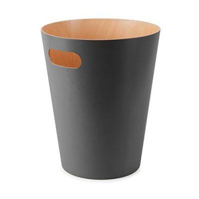 Umbra, Charcoal Woodrow, 2 Gallon Modern Wooden Trash Can