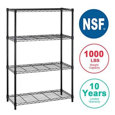 4 shelf Wire Shelving Unit Garage NSF Wire Shelf Metal Large Storage