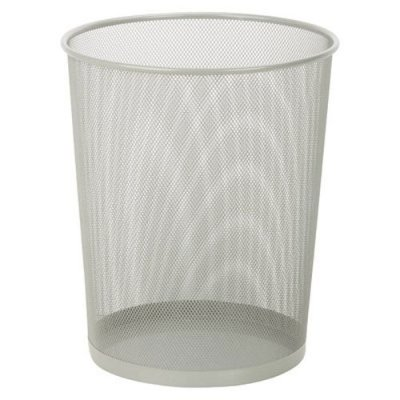 Honey-Can-Do Steel Mesh Powder-Coated Waste Basket, Silver