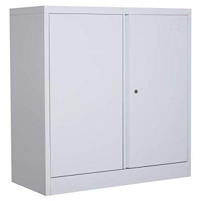 "HOMCOM 36"" Counter Height Metal Locking Storage Cabinet"