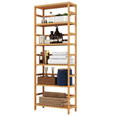Homfa Bamboo Shelf 6 Tier, 63.4 Inches Height Free Standing Bookshelf