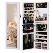 LUXFURNI Mirror Jewelry Cabinet 79 LED Lights Wall-Mount/Door-Hanging Armoire