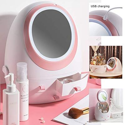 MANO Rotating Makeup Organizer with LED Mirror Dust-proof Detachable