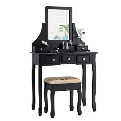 CHARMAID Makeup Vanity Set with Mirror and Cushioned Stool