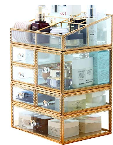 PENGKE X Large Gold Makeup Organizer,Clear Jewelry and Cosmetic Storage Case