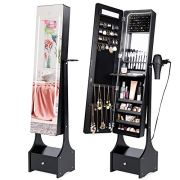 Best Choice Products Full Length Standing LED Mirrored Jewelry Makeup Storage