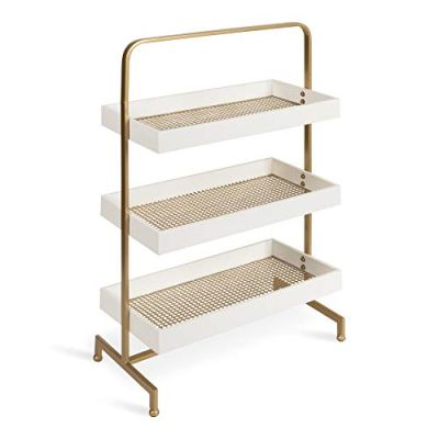 Kate and Laurel Hanne 3 Tray Free Standing Shelf, White Wood
