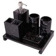 Resin Black Marble Design Bathroom Vanity Accessories Set of 6