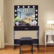 Vanity Set with Lighted Mirror, 12 Dimmable Light Bulbs Vanity Dressing Table
