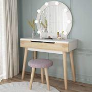 Tribesigns Vanity Set with Round Lighted Mirror, Wood Makeup Vanity Dressing