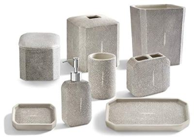 Kassatex 4-Piece Bath Accessory Set, Shagreen Bath Accessories