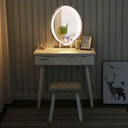 Makeup Vanity Table Set with Touch Screen Adjustable Lighted Mirror