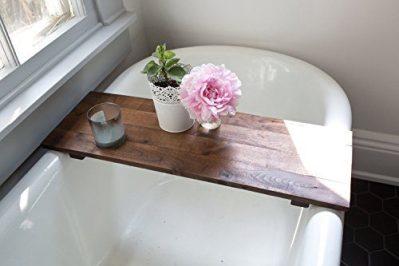 Rustic Bathtub Tray Walnut Bath Tub Caddy Farmhouse Decor Handmade