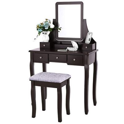 BEWISHOME Vanity Table Set with Mirror & Cushioned Stool Dressing Table