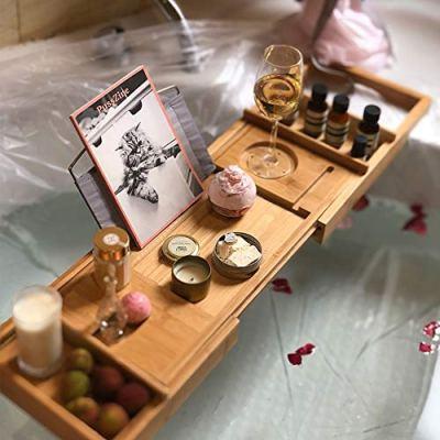AOFWM Bamboo Bathtub Caddy, Bathroom Retractable Non-Slip