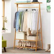 2-Tier Bamboo Clothing Garment Rack, Shoe Clothing Storage Organizer