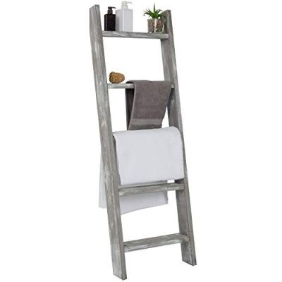 MyGift Wall-Leaning Rustic Gray with White Finish Wood