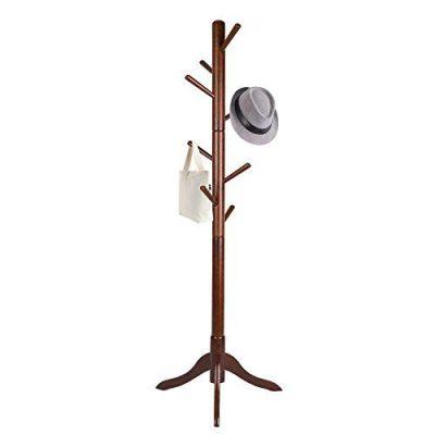 Vlush Free Standing Coat Rack, 8 Hooks Wooden Coat Hat
