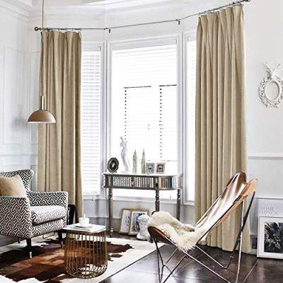 jinchan Beige Curtains Velvet Drapes Bedroom Window Curtains