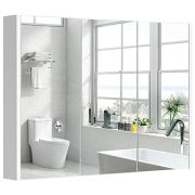 Tangkula Bathroom Medicine Cabinet, Wide Wall Mount Mirrored Cabinet