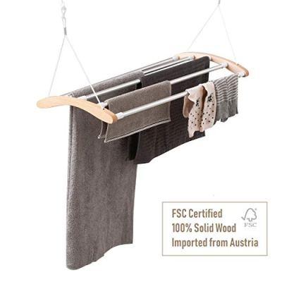 INNOKA Extendable Ceiling Mounted Drying Rack, Luxury Birch Wood