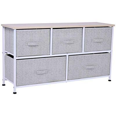 "HOMCOM 40"" L 5 Drawer Horizontal Storage Cube Dresser Unit Bedroom"