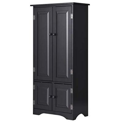 Giantex Accent Floor Storage Cabinet Adjustable Shelves Antique