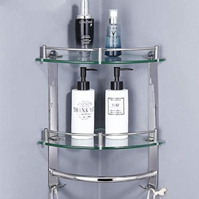Bathroom Shelves ✨ Glass Corner Shelf Rails, Stainless Steel Wall Mounted
