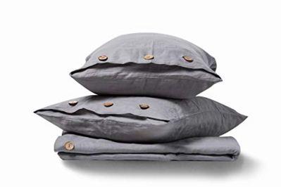 meadow park Stone Washed Pure Linen Duvet Cover Set 3 Piecss