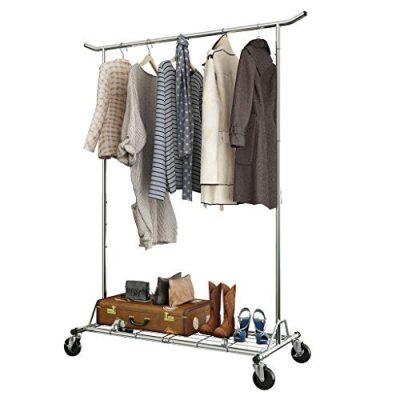 LANGRIA Heavy Duty Rolling Commercial Single Rail Clothing Garment Rack