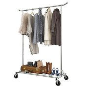 LANGRIA Heavy Duty Rolling Commercial Single Rail Clothing Garment Rack