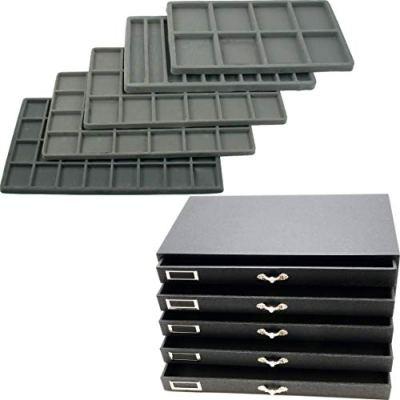 5 Drawer Jewelry Organizer Storage Display Case Box
