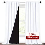 NICETOWN White 100% Truly Blackout Curtains, Rod Pocket Super Heavy-Duty